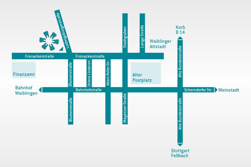 Zahnarzt Waiblingen Anfahrt Lageplan Karte